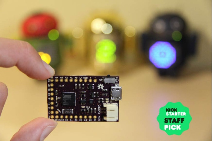 The Qduino Mini is the first tiny Arduino compatible that has a built-in battery charger & fuel gauge