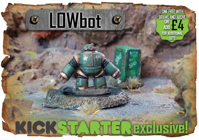 The Kickstarter exclusive figure LOWbot - One free with every pledge of brawl and above!