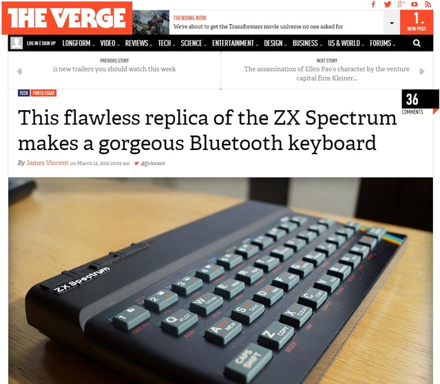 James Vincent for The Verge offers his first impression of 'The recreated Sinclair ZX Spectrum'