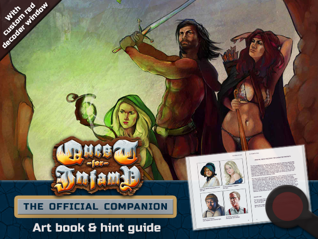 """A fully illustrated art book and strategy guide and hint book - complete with decoder window - for Infamous Quest's """"Quest For Infamy!"""""""