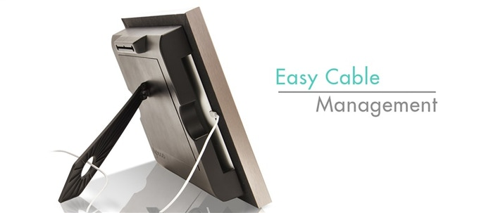 Keep the unsightly cable out-of-view by placing it through the opening in the kickstand.