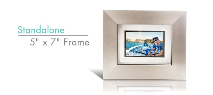 """iSotto Frame serves as a traditional, 5"""" x 7"""" picture frame while your iPad is in use."""