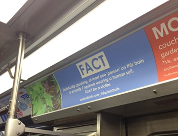 A #SquirrelTruth ad on a CTA train in Chicago