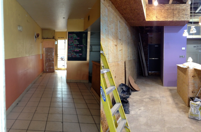 """Left:  Bad Saint's space, """"before"""";  Right: Our space in-progress."""