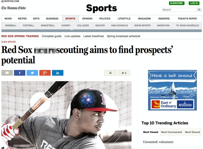 Boston Globe explains how deCervo offers new insight into scouting players