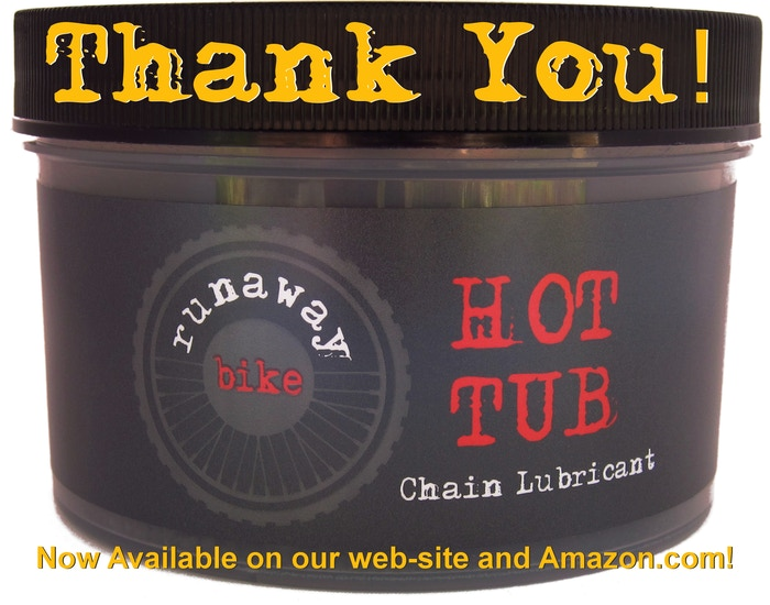The Runaway Bike HOT TUB paraffin bike chain lubricant now available on Amazon.com!