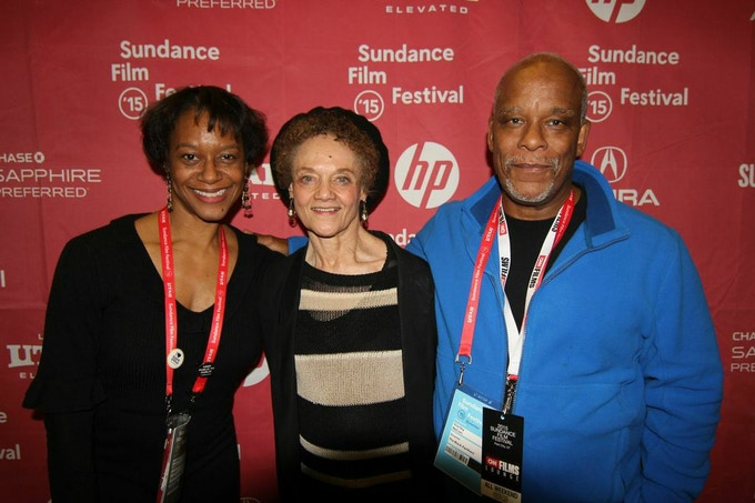 Producer Laurens Grant, former Black Panther Kathleen Cleaver with Director Stanley Nelson