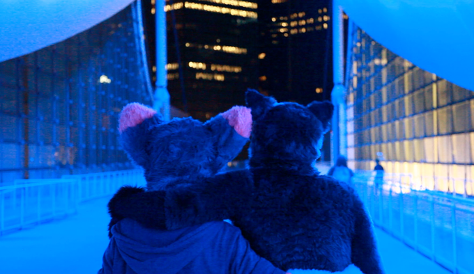 Furries on the roof of the convention center at Anthrocon, a furry convention in Pittsburgh.