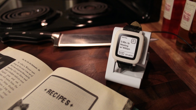 TimeDock White in the Kitchen with Pebble Time model.