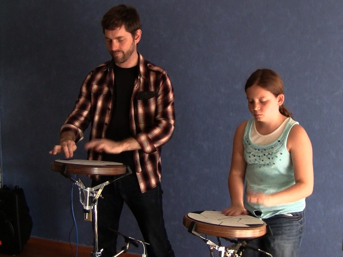 10 minutes after playing Jambé for the first time, Nicole K. starts jamming with Daniel Berkman