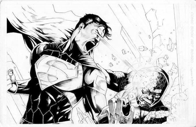 """Superman vs Darkseid"" The inks to an illustration of Superman and Darkseid fighting."