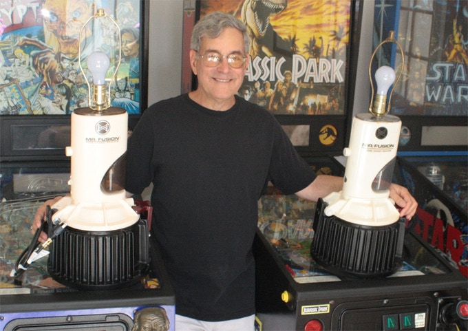 Bob poses with his famous Mr. Fusion lamp (right) and Joe Walser's authorized recreation (left)