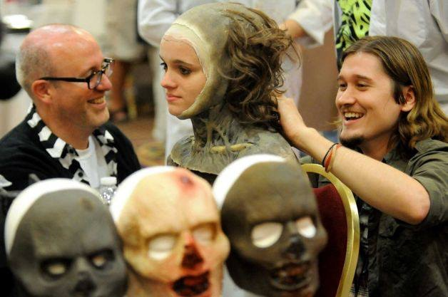 Jared Balog (right) creating a zombie from scratch at FantaCon 2013!