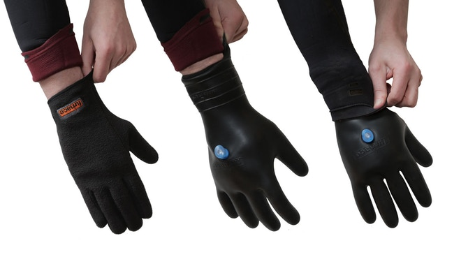The patent pending second gen Response Dry Glove featuring an integrated bite valve.