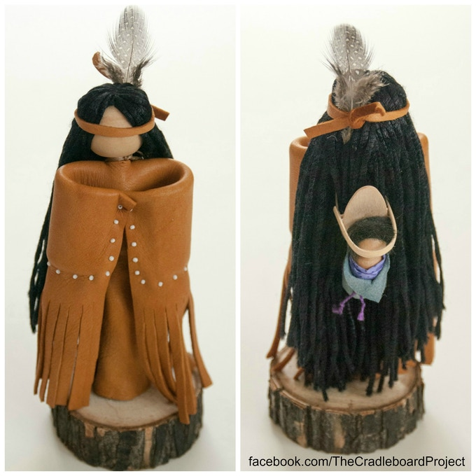 Front and back image of doll with cradleboard baby.
