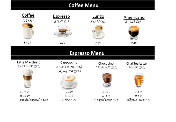 Mock-up of menu is only an example of drinks and prices.