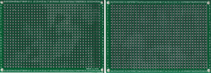 Top and bottom of a Perf+ board