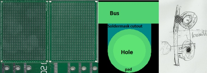 from left to right, current hardware iteration, first hardware prototype, first PCB design, initial idea sketch