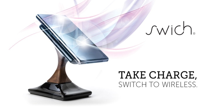 Swich is a sophisticated wireless charger for smartphones. A mobile accessory made from premium materials.