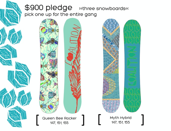 $900 Pledge | 3 Coalition Snowboards | Graphics by Christina Armetta | Click For More Info