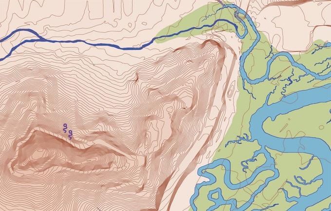 Map detail showing Bernal Heights