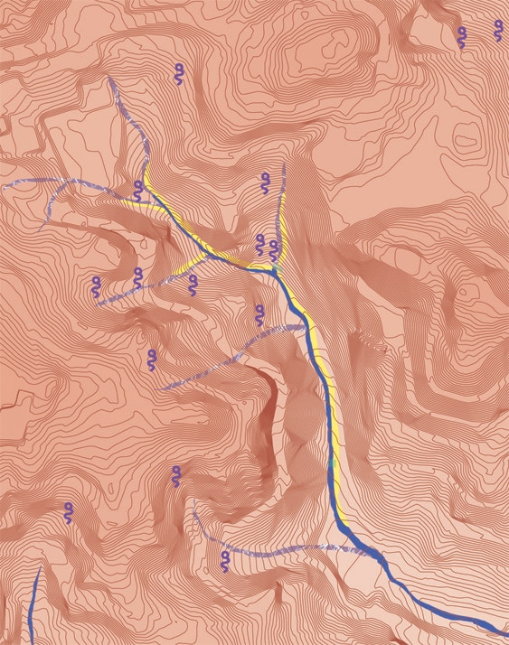 Map detail showing Glen Canyon water today (yellow) and historic creeks (blue if they appear on government surveys, marbled purple if they appear in other credible historic sources)