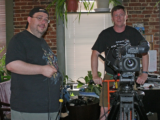 DAY ONE of Production: Nicholas Hearne wrangles cables while Bob Clark gets the dolly set for the first shot.