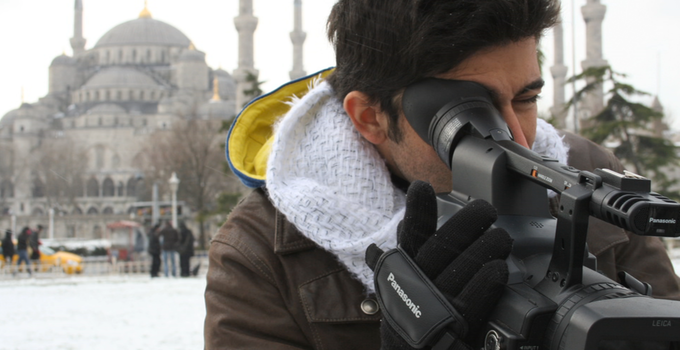 Me filming and freezing in Istanbul (Turkey). I am sicilian and...sicilians hate cold weather :-)