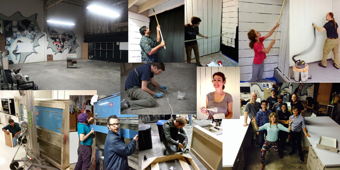 Finished construction projects include painting and re-flooring the BSL-2 lab room, sealing cracks in the concrete floor, moving in a >700lb biosafety cabinet, assembling large lab benches and mounting them on casters, and more...
