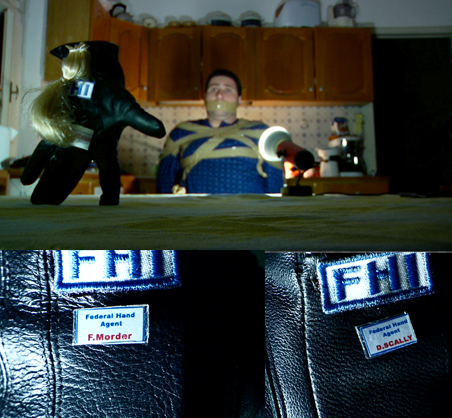 "Image from the movie: FHI Agents (Federal Hand Investigation Agents) - Scally and Morder have arrested a human. Scally is now interrogating this man about his various ""abuses"" towards his 2 hands."