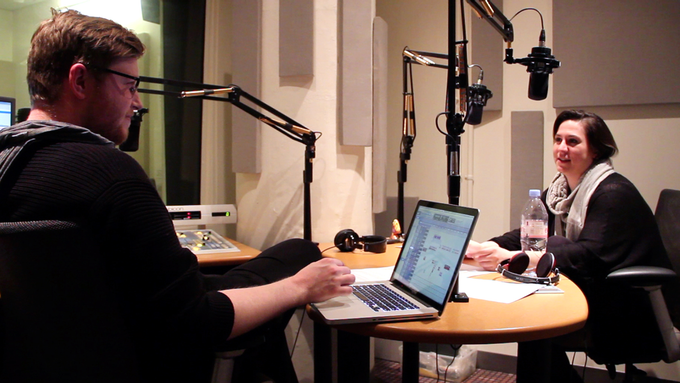 Producer Alex Overington and host Nadia Sirota in the studio.