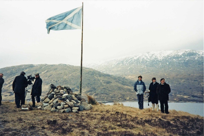 Memorial cairn by Loch Loyne, circa late 1980s. Copyright: Scottish Political Archive.