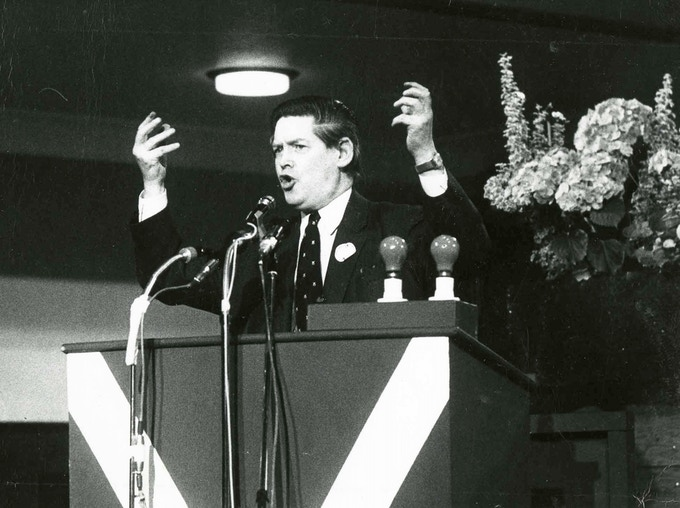 Willie speaking in May 1975. Copyright: Scottish Political Archive.