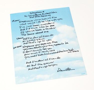 "Hand Written lyrics for ""Stephanie"" from songwriter, DAVID PRICE!"
