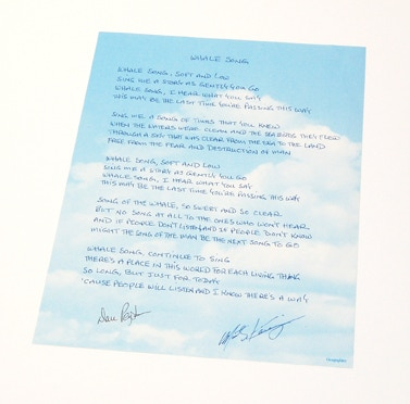"""Whale Song"" lyrics hand-written and signed  by both songwriters MARTY KANIGER & DAN PEYTON!"