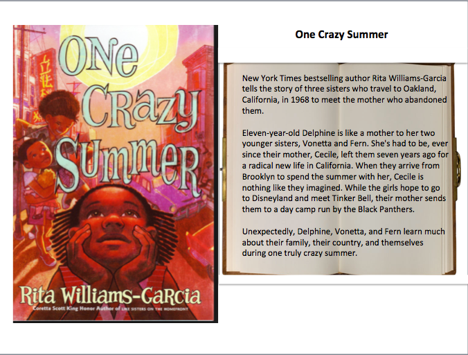"Signed copy of ""One Crazy Summer"" by author, Rita Williams-Garcia"
