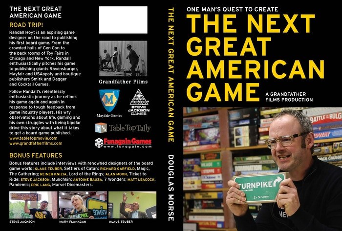 A man on a quest to design and publish THE NEXT GREAT AMERICAN GAME. Special features include interviews with luminaries of the tabletop world: Knizia, Bauza, Teuber, Moon, Leacock, Lang and more.