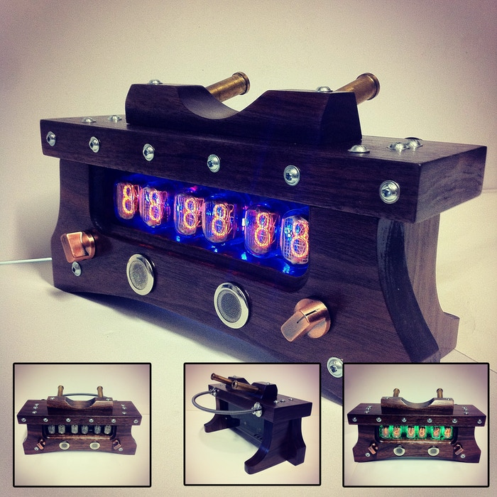 A Handmade Clock In Walnut & Other Hardwoods. 700+ Colours, GPS, & Tubes Replaceable Without Soldering. No Assembly Or Programming Req.