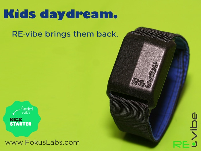 Daydreaming at the desk?  RE-vibe sends quiet vibration reminders to get your child (or you) back to work.