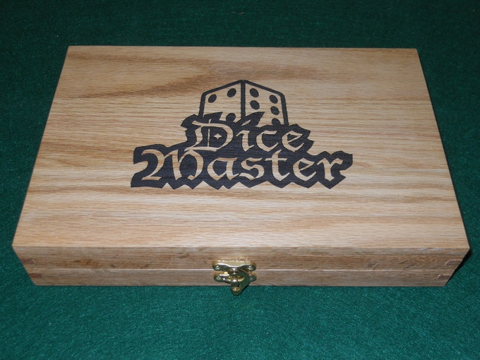 Here is an example of the Laser engraving add-on with the Dice Master logo