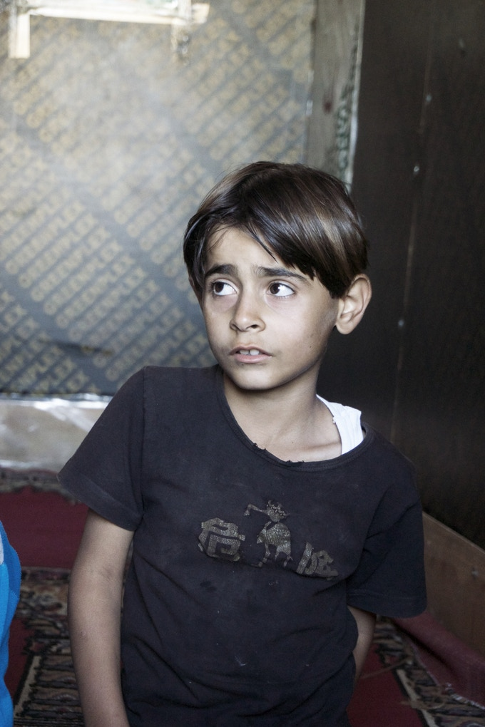 A student in the makeshift school