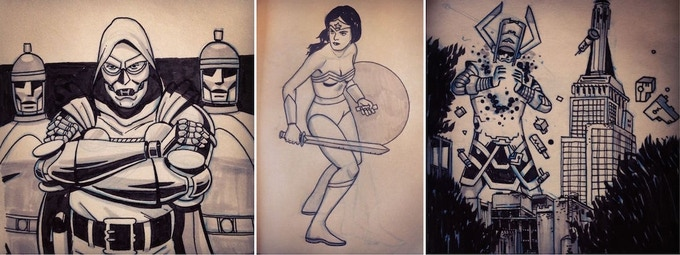 A few examples of sketches by series artist Danny Zabbal
