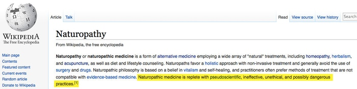 Naturopathy positioned as dangerous....