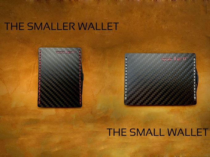 "Wallet is available in 2 sizes.  ""The Smaller Wallet"" - A wallet literally the size of a credit card is for those that carry mostly cards and a few bills.  ""The Small Wallet"" - Is a wallet that is for those that carry mostly cash and a few cards."