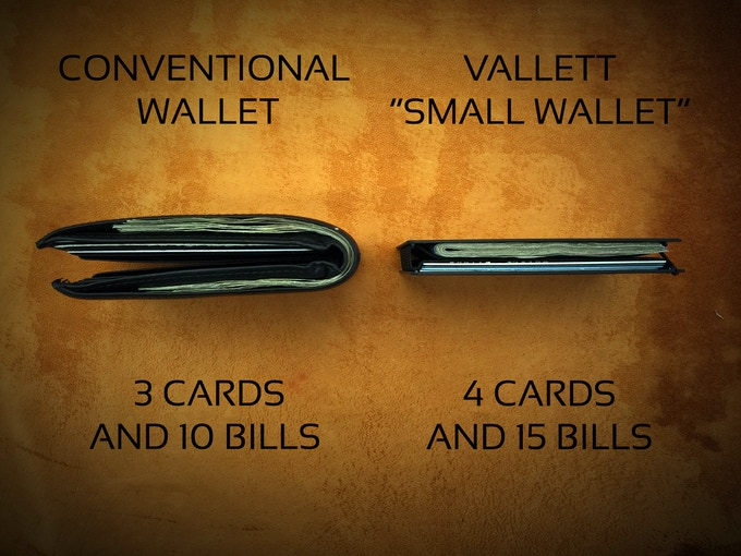 Here is a true comparison.  Our wallets are extremely versatile.  You can fit up to 10 cards and multiple bills and the wallet will still be extremely slim compared to a conventional wallet!
