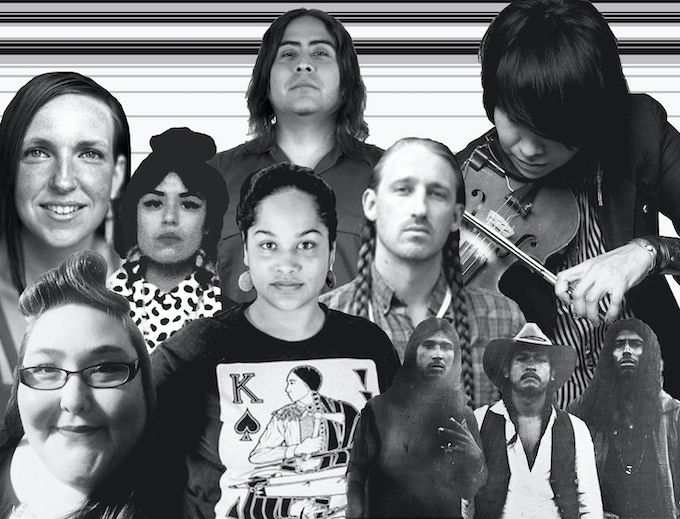 A handful of Indigenous artists participating in the year's festival. Elizabeth LaPansée, Shilo George, Grace Rosario Perkins, Natalie Ball, Raven Chacon, Dylan Miner, Laura Ortman, and members of Almas Fronterizas.