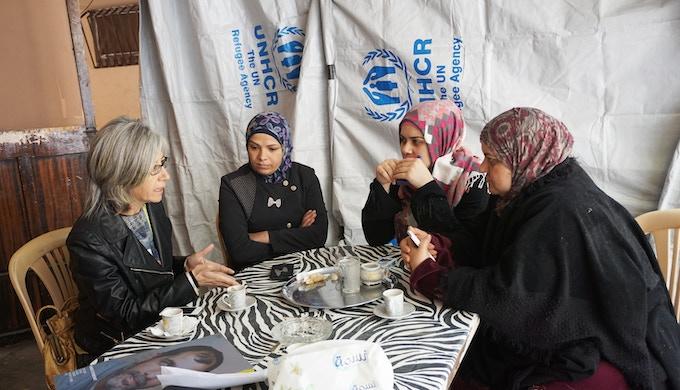 Loula with Ranim and Samia, the art and Arabic facilitators