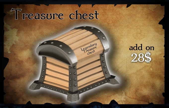 Wooden Chest with metal parts! It can contain 40-50 coins.