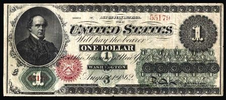 $1 1862. Issued by USA