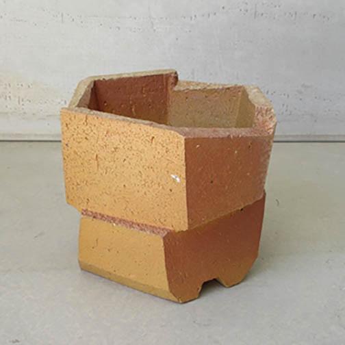 "Jonathan Cross, Hexagonal Planter, Stoneware with slips, woodfired, 6.5x7.5x8"" $550"